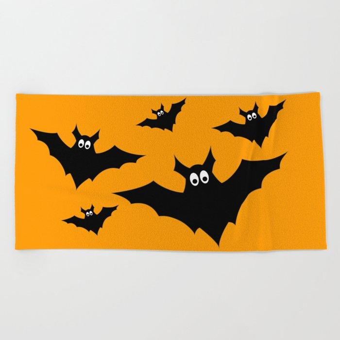 Cool cute Black Flying bats Halloween Beach Towel