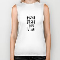 pasta Biker Tanks featuring Pizza Pasta and Vino Watercolor Black and White Typography Print by The Motivated Type