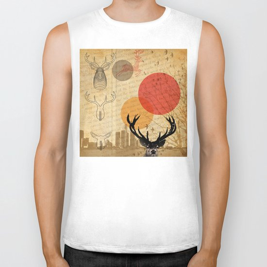 deer in the city Biker Tank
