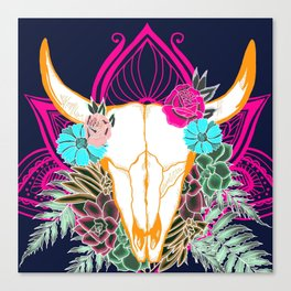 Desert Skull, Gypsy Art, Bohemian Art Canvas Print