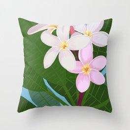 Key West - White Plumeria Throw Pillow