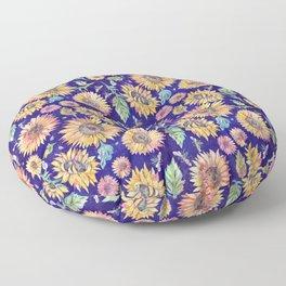 Sunflowers on Indigo Floor Pillow