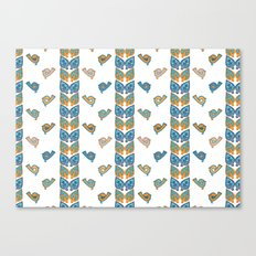 Leaves & Birds Pattern Canvas Print