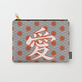 Eastern Love POPPY RED / Japanese character for love Carry-All Pouch