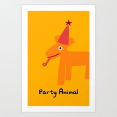 Party Animal-Orange Art Print