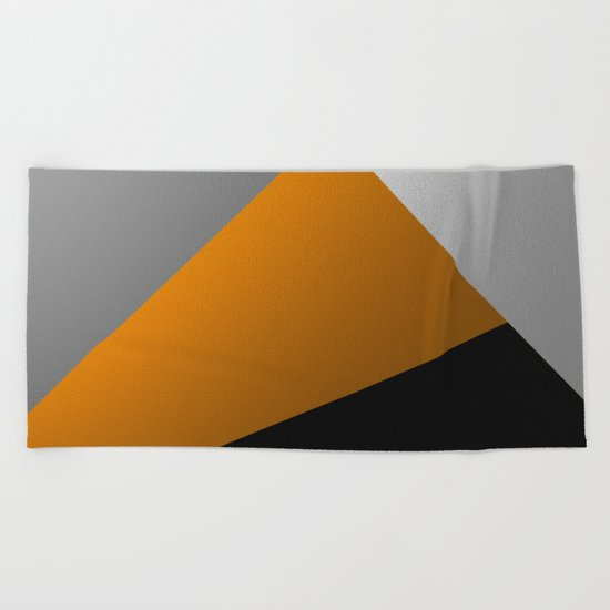 Metallic I - Abstract, geometric, metallic textured gold, silver and black metal effect artwork Beach Towel