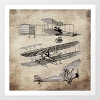 airplanes Art Prints featuring airplanes by Кaterina Кalinich