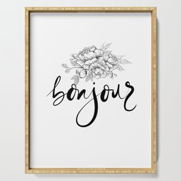 Bonjour ,french hello,floral design Serving Tray