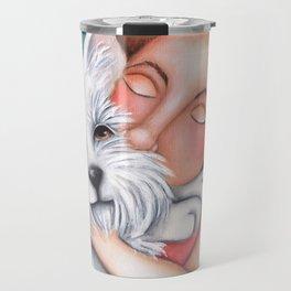 Sweet Coconut Original Art Schnauzer and girl Portrait Travel Mug