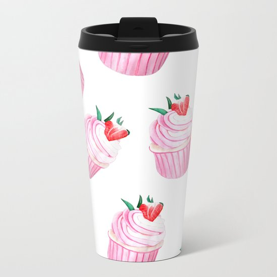 Strawberry Cupcakes Metal Travel Mug