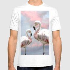 Flamingo Skies White MEDIUM Mens Fitted Tee