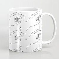 cigarette Mugs featuring Cigarette Smoker by Katie Rosealea