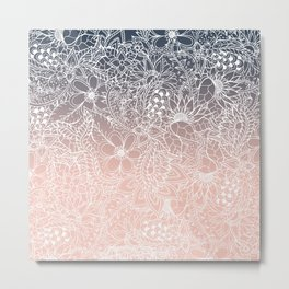 navy blue pastel peach ombre gradient white floral pattern Metal Print