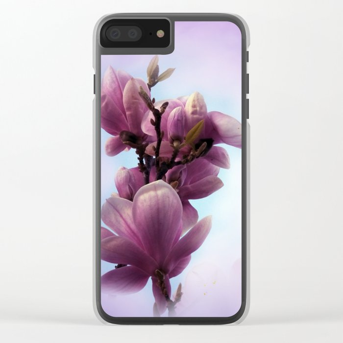 pink magnolia blossoms on texture -1- Clear iPhone Case