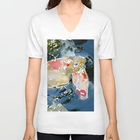 koi V-neck T-shirts featuring Koi by Regan's World