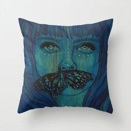 Blue Woodengirl  Throw Pillow