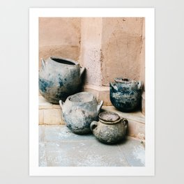 Pottery in earth tones | Ourika Marrakech Morocco | Still life photography Art Print