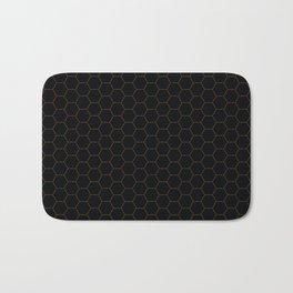 Black with fine line gold hexagon pattern Bath Mat