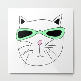Cat Mint Sunglasses Metal Print
