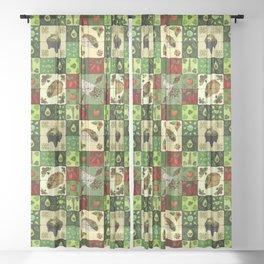 Mexican Restaurant Tiles Sheer Curtain