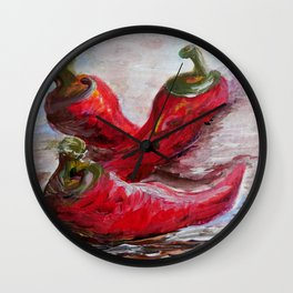 Poppin' Peppers Wall Clock