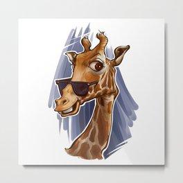 A Giraffe with Glasses Metal Print