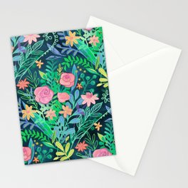 Roses + Green Messy Floral Posie Stationery Cards