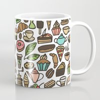 macaroon Mugs featuring Coffee and pastry. by Julia Badeeva