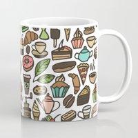 macaroon Mugs featuring Coffee and pastry. by Julia Badeeva
