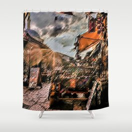 Good Morning Sarajevo Landscape Painting by Jeanpaul Ferro Shower Curtain