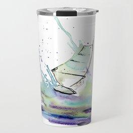 Windurfer - Surfart in watercolor - Surf Decor Travel Mug