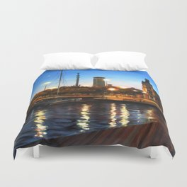 Sunset and citylights in the port of Barcelona Duvet Cover