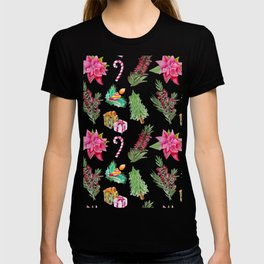 Christmas Pattern with Australian Native Bottlebrush Flowers T-shirt