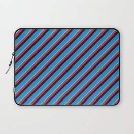 Blue Red Inclined Stripes Laptop Sleeve
