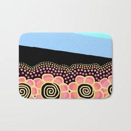 Four Doodle Flowers - Black Blue Sky Bath Mat