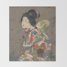 Japanese Art Print - Woman and Fireflies Throw Blanket