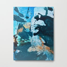 Dust and Matter: a pretty abstract painting in blue and gold by Alyssa Hamilton art Metal Print