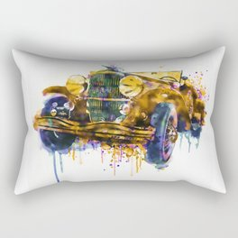 Oldtimer Automobile Watercolor Painting Rectangular Pillow