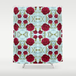 Red Garden Rose Photo Collage on Blue Background Shower Curtain