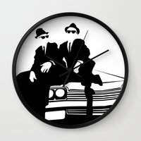 blues brothers Wall Clocks featuring Blues Brothers by Greg Koenig
