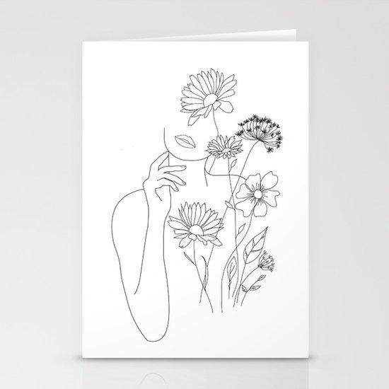 Minimal Line Art Woman with Flowers III by nadja1