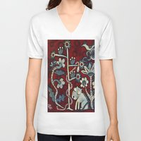 forrest V-neck T-shirts featuring Red Forrest by Dawna Kinne Magliacano