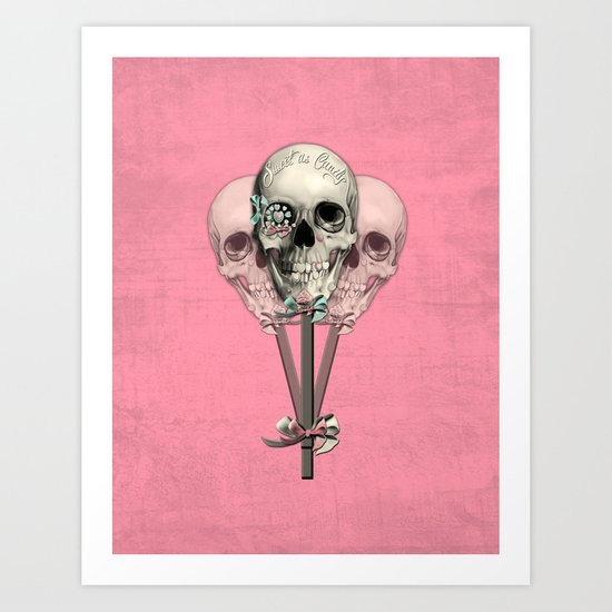 Sweet as Candy, skull lollipops  Art Print
