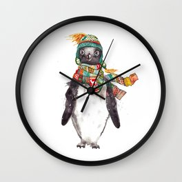 Penguin in a scarf (male) Wall Clock
