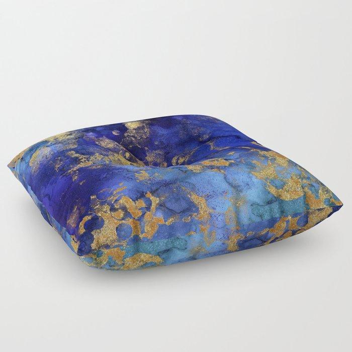 Gold And Blue Indigo Malachite Marble Floor Pillow
