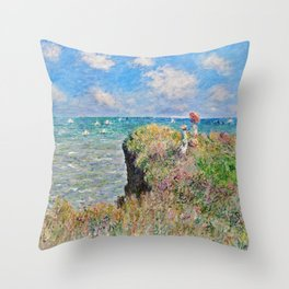 Claude Monet Cliff Walk At Pourville 1882 Throw Pillow