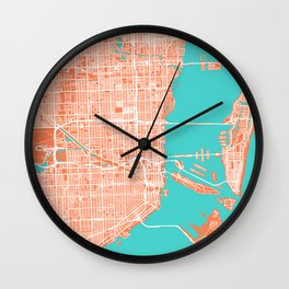 Miami Map | Coral & Turquoise | More Colors, Review My Collections Wall Clock