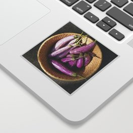 Asian Eggplant in a Basket Sticker