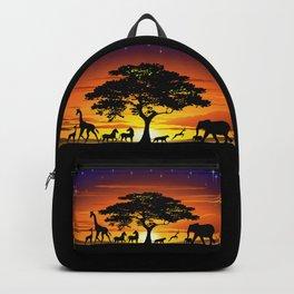 Wild Animals on African Savanna Sunset Backpack