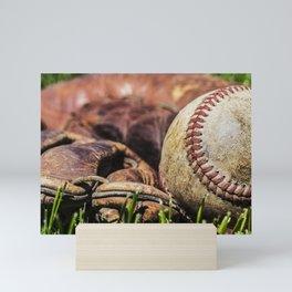 Baseball and Glove on Grass 1 Mini Art Print